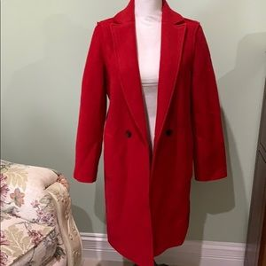 J Crew Wool Red Coat Size 6